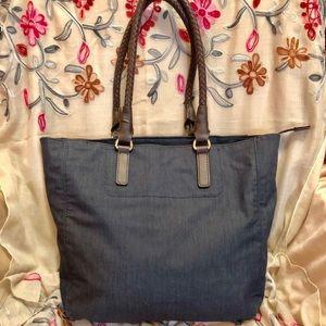 Talbots Denim & Leather Tote/Shoulder Bag